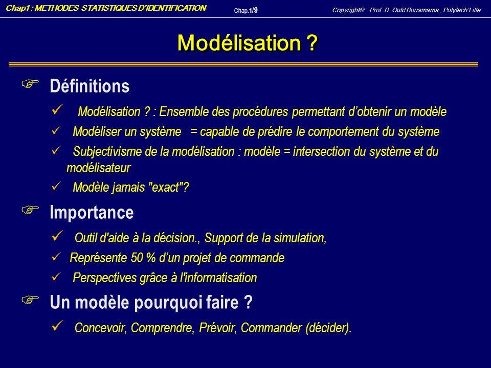 Copyright© : Prof. B. Ould Bouamama, PolytechLille Chap1 : METHODES STATISTIQUES DIDENTIFICATION Chap.1 / 9 Modélisation ? F Définitions Modélisation