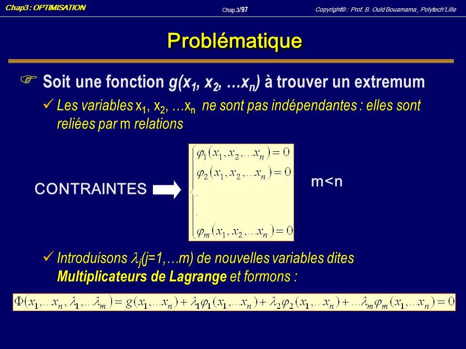 Copyright© : Prof. B. Ould Bouamama, PolytechLille Chap3 : OPTIMISATION Chap.3 / 97 ProblématiqueProblématique F Soit une fonction g(x 1, x 2, …x n )