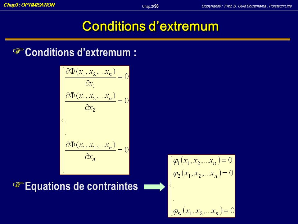 Copyright© : Prof. B. Ould Bouamama, PolytechLille Chap3 : OPTIMISATION Chap.3 / 98 Conditions dextremum F Conditions dextremum : F Equations de contr