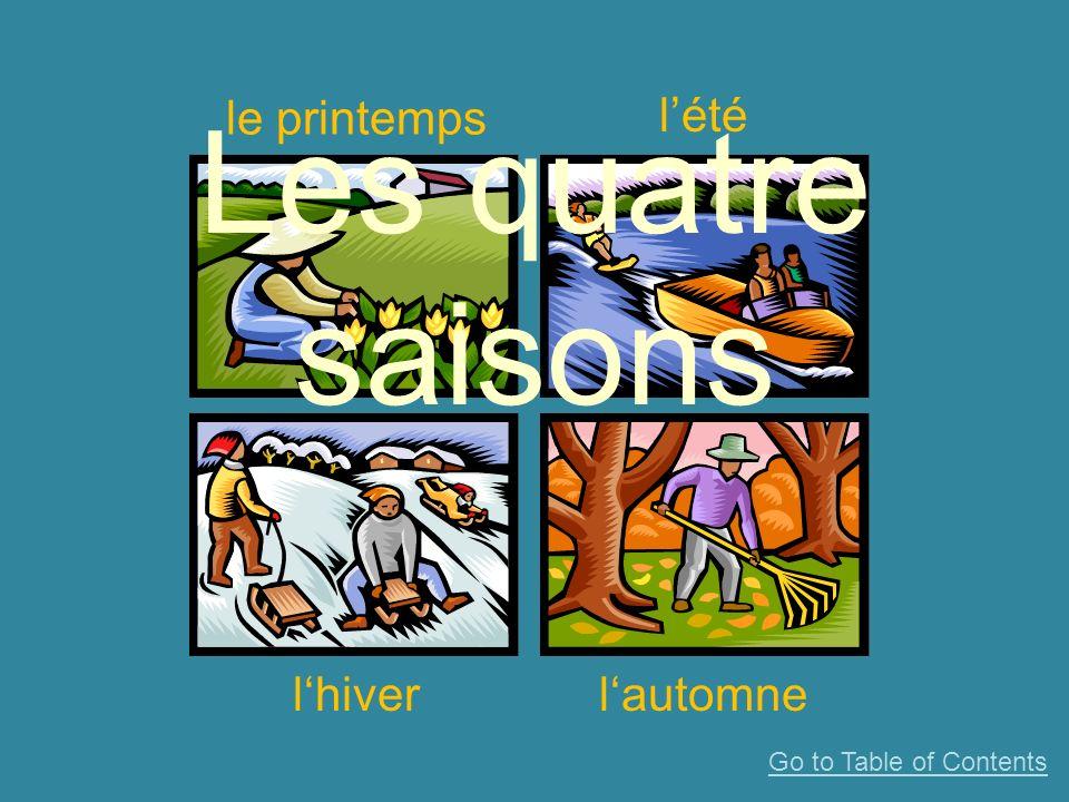 le printemps lété lhiverlautomne Les quatre saisons Go to Table of Contents