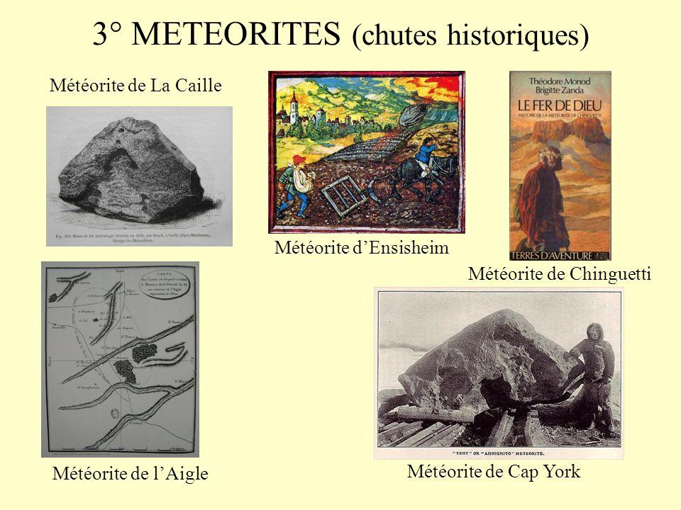 2° METEORITES (chutes sur maisons et personnes)