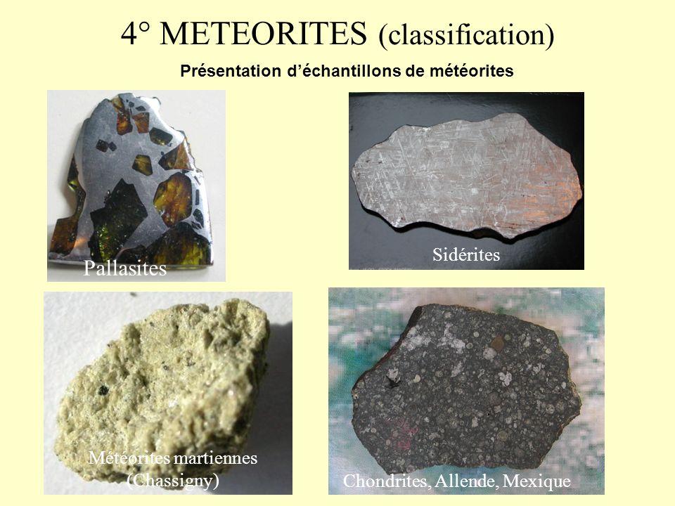 3° METEORITES (chutes historiques) Météorite de Cap York Météorite de Chinguetti Météorite de La Caille Météorite dEnsisheim Météorite de lAigle