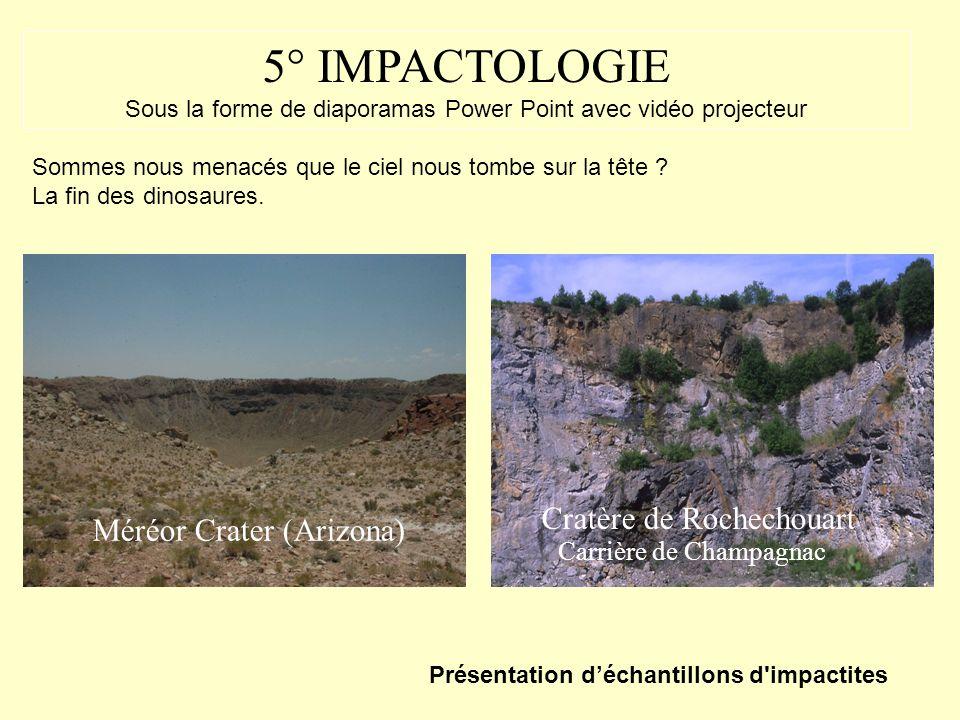 4° METEORITES (classification) Sidérites Pallasites Météorites martiennes (Chassigny) Présentation déchantillons de météorites Chondrites, Allende, Me