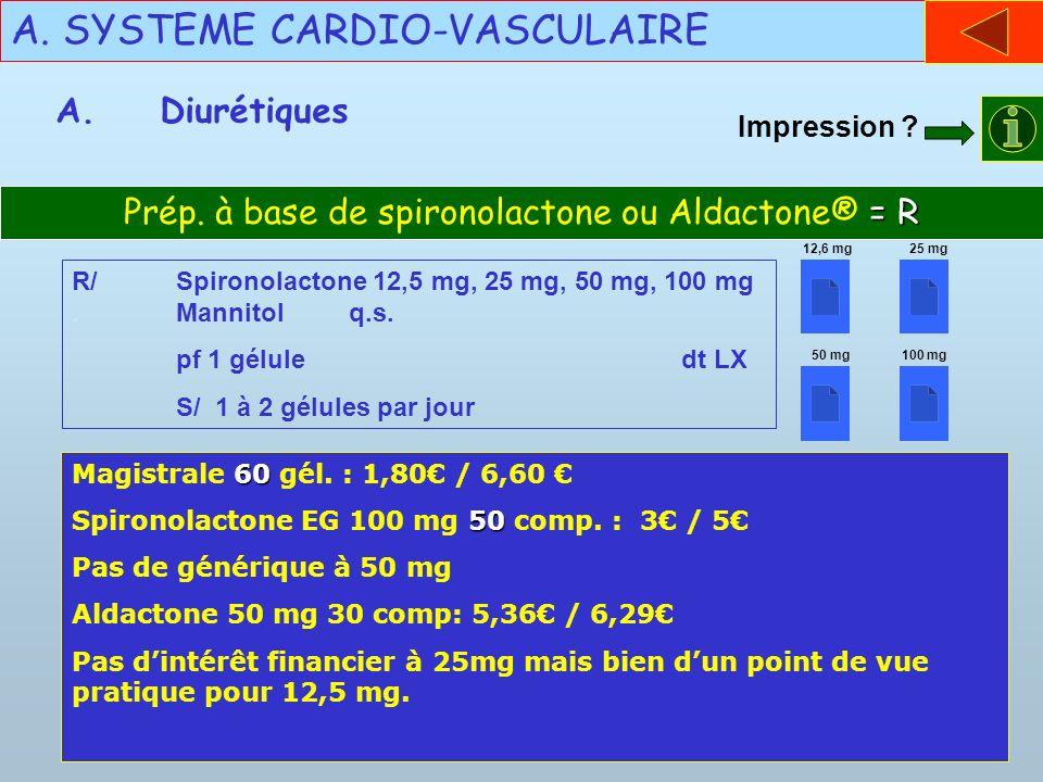 A. SYSTEME CARDIO-VASCULAIRE A.Diurétiques = R Prép. à base de spironolactone ou Aldactone® = R R/Spironolactone 12,5 mg, 25 mg, 50 mg, 100 mg. Mannit