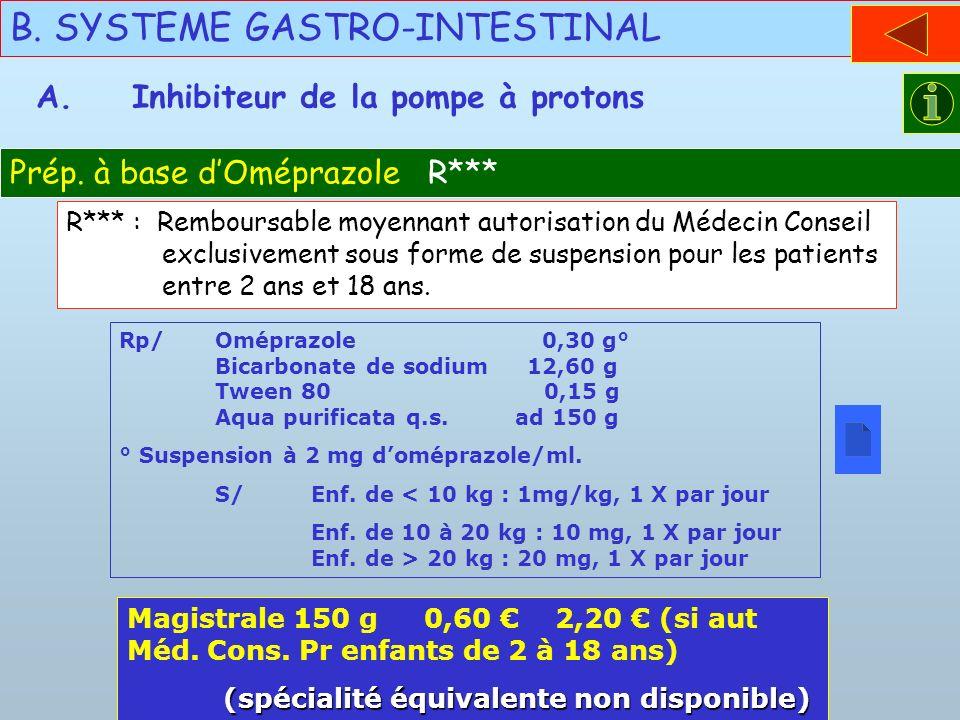 B. SYSTEME GASTRO-INTESTINAL Prép. à base dOméprazole R*** A.Inhibiteur de la pompe à protons Rp/Oméprazole 0,30 g° Bicarbonate de sodium 12,60 g Twee