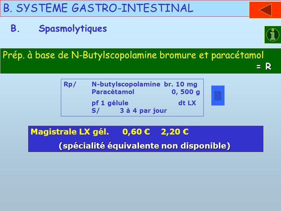 B. SYSTEME GASTRO-INTESTINAL = R Prép. à base de N-Butylscopolamine bromure et paracétamol = R B.Spasmolytiques Rp/N-butylscopolamine br. 10 mg Paracé