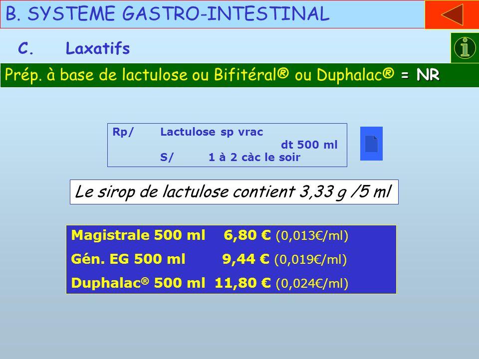 B. SYSTEME GASTRO-INTESTINAL C.Laxatifs Rp/Lactulose sp vrac dt 500 ml S/ 1 à 2 càc le soir Magistrale 500 ml 6,80 (0,013/ml) Gén. EG 500 ml 9,44 (0,0