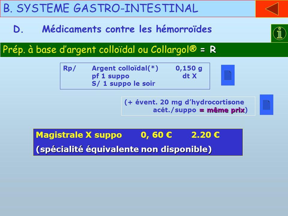 B. SYSTEME GASTRO-INTESTINAL D.Médicaments contre les hémorroïdes = R Prép. à base dargent colloïdal ou Collargol® = R Rp/Argent colloïdal(*) 0,150 g