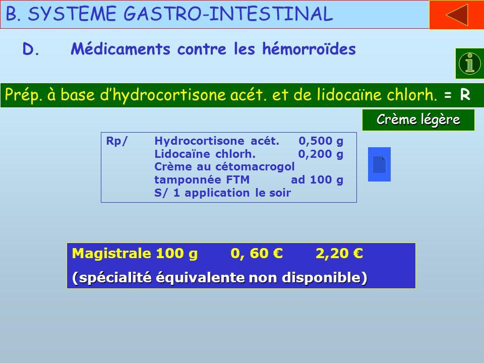 B. SYSTEME GASTRO-INTESTINAL D.Médicaments contre les hémorroïdes Prép. à base dhydrocortisone acét. et de lidocaïne chlorh. = R Rp/Hydrocortisone acé