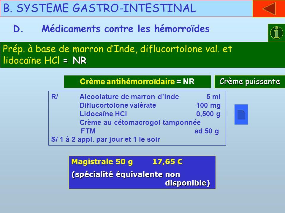 B. SYSTEME GASTRO-INTESTINAL D.Médicaments contre les hémorroïdes Crème antihémorroïdaire = NR R/Alcoolature de marron dInde 5 ml Diflucortolone valér