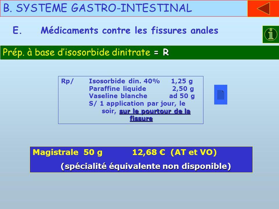 B. SYSTEME GASTRO-INTESTINAL E.Médicaments contre les fissures anales = R Prép. à base disosorbide dinitrate = R sur le pourtour de la fissure Rp/Isos