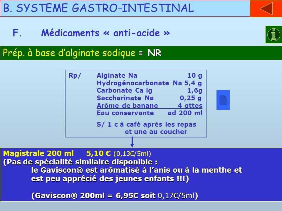 B. SYSTEME GASTRO-INTESTINAL F.Médicaments « anti-acide » = NR Prép. à base dalginate sodique = NR Rp/Alginate Na 10 g Hydrogénocarbonate Na 5,4 g Car