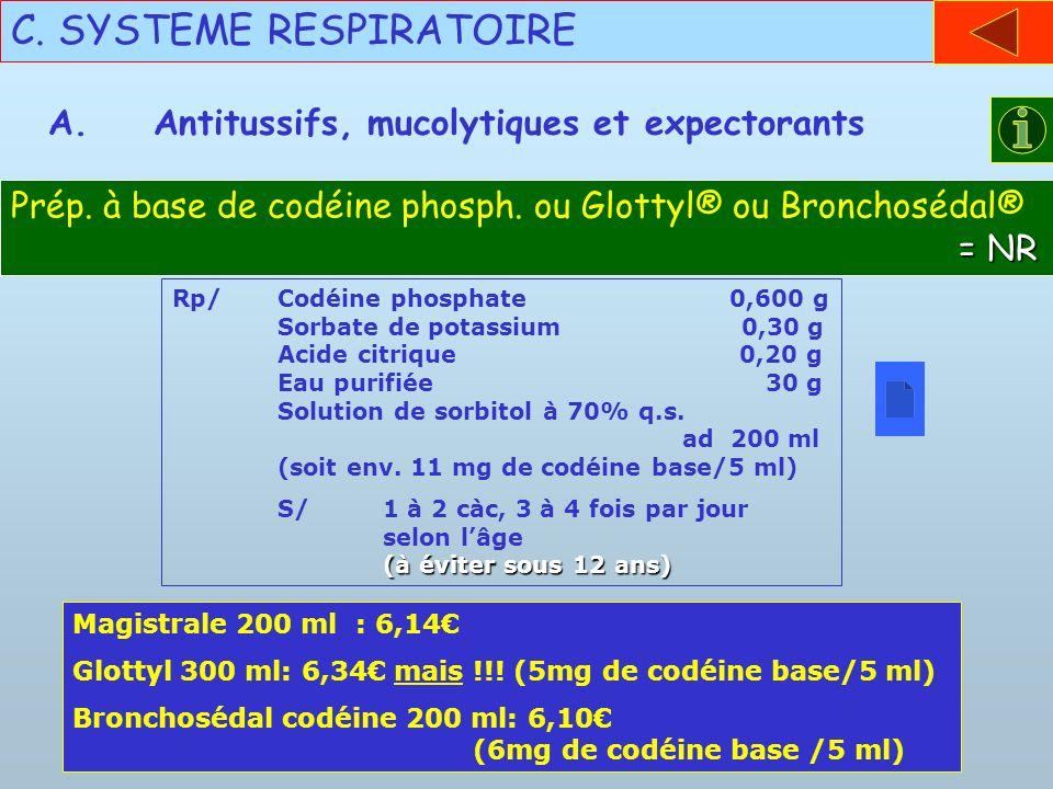 C. SYSTEME RESPIRATOIRE A.Antitussifs, mucolytiques et expectorants Rp/Codéine phosphate 0,600 g Sorbate de potassium 0,30 g Acide citrique 0,20 g Eau