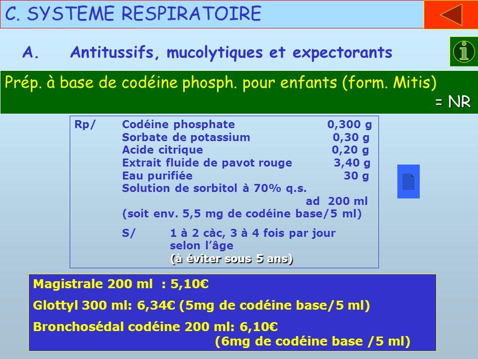 C. SYSTEME RESPIRATOIRE A.Antitussifs, mucolytiques et expectorants Rp/Codéine phosphate 0,300 g Sorbate de potassium 0,30 g Acide citrique 0,20 g Ext