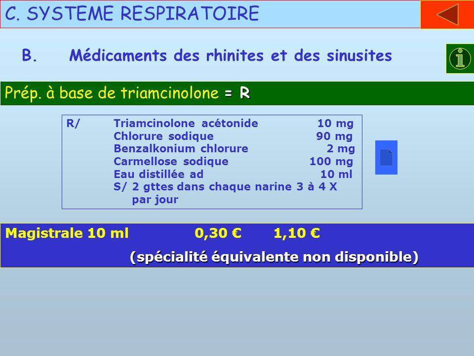 C. SYSTEME RESPIRATOIRE B.Médicaments des rhinites et des sinusites = R Prép. à base de triamcinolone = R R/Triamcinolone acétonide 10 mg Chlorure sod