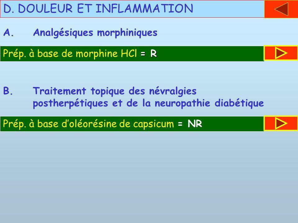 D. DOULEUR ET INFLAMMATION A.Analgésiques morphiniques = R Prép. à base de morphine HCl = R B.Traitement topique des névralgies postherpétiques et de
