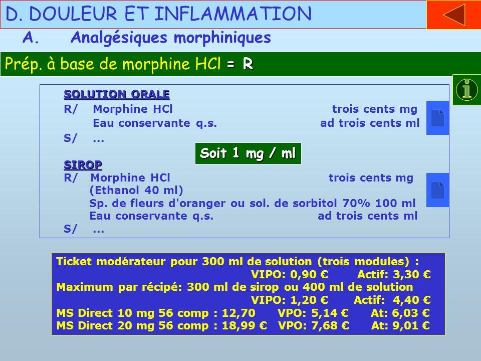 SOLUTION ORALE R/Morphine HCl trois cents mg Eau conservante q.s. ad trois cents ml S/...SIROP R/ Morphine HCl trois cents mg (Ethanol 40 ml) Sp. de f