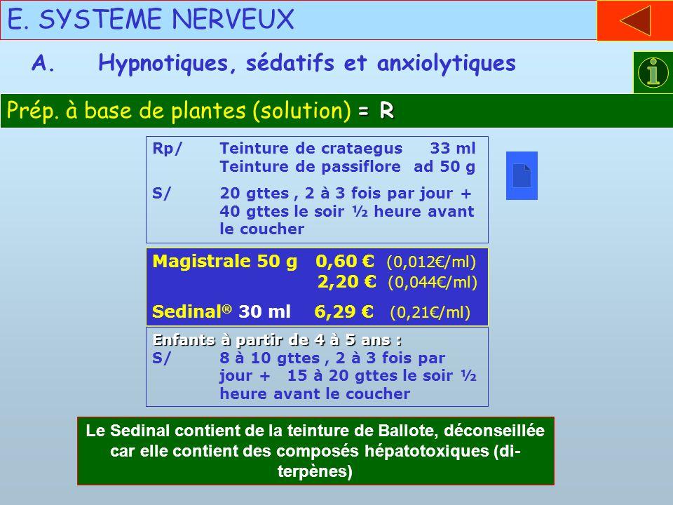 E. SYSTEME NERVEUX = R Prép. à base de plantes (solution) = R A.Hypnotiques, sédatifs et anxiolytiques Rp/Teinture de crataegus 33 ml Teinture de pass