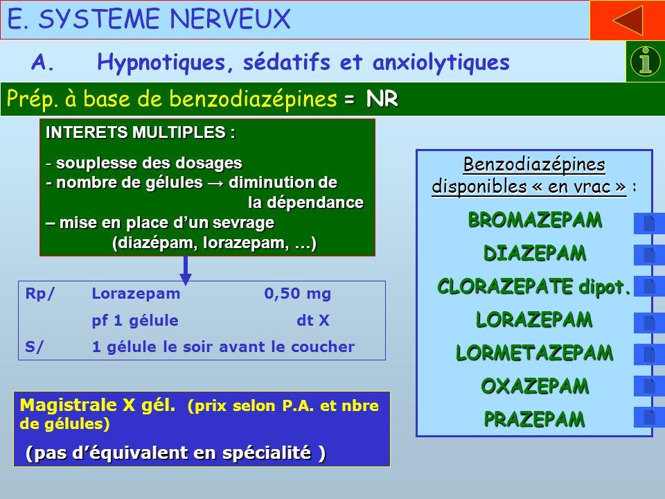 E. SYSTEME NERVEUX = NR Prép. à base de benzodiazépines = NR A.Hypnotiques, sédatifs et anxiolytiques Rp/Lorazepam 0,50 mg pf 1 gélule dt X S/1 gélule