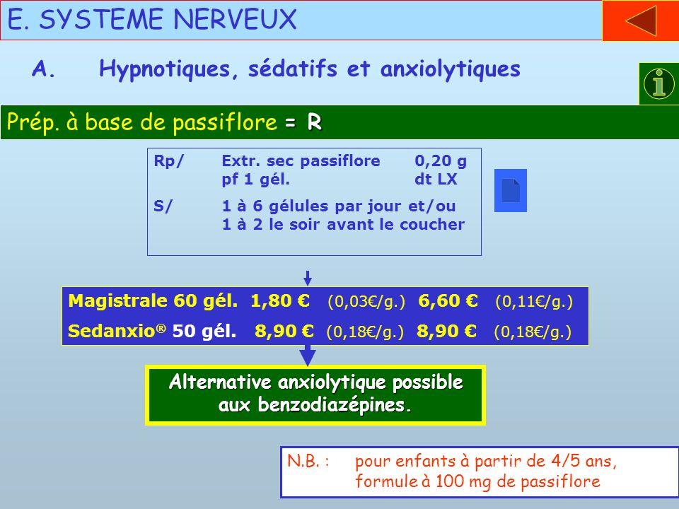 E. SYSTEME NERVEUX = R Prép. à base de passiflore = R A.Hypnotiques, sédatifs et anxiolytiques Rp/Extr. sec passiflore 0,20 g pf 1 gél. dt LX S/1 à 6