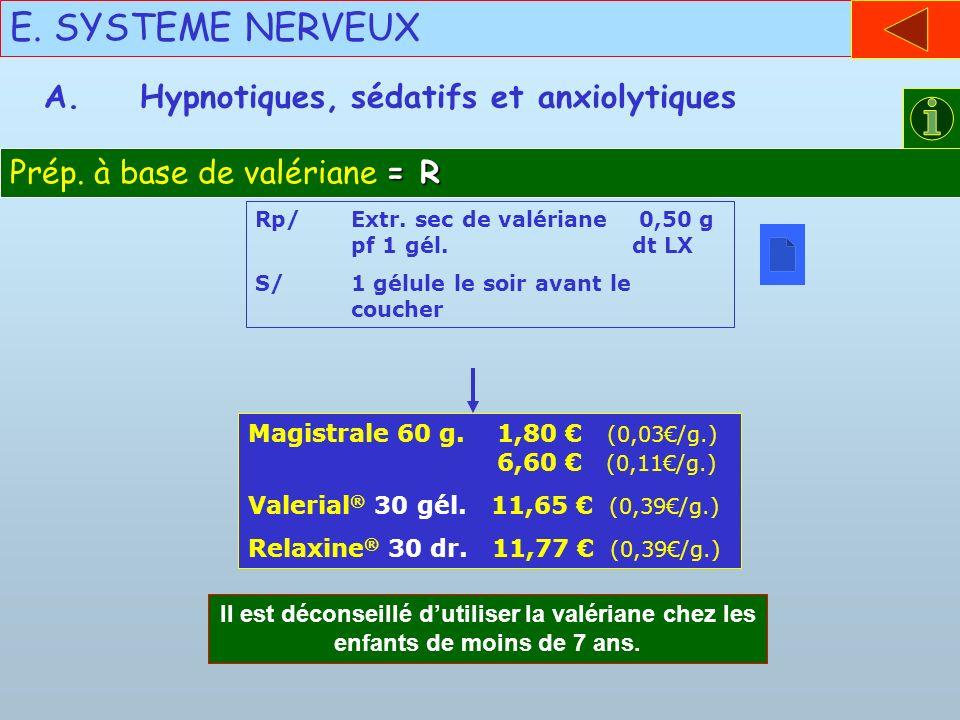 E. SYSTEME NERVEUX = R Prép. à base de valériane = R A.Hypnotiques, sédatifs et anxiolytiques Rp/Extr. sec de valériane 0,50 g pf 1 gél. dt LX S/1 gél