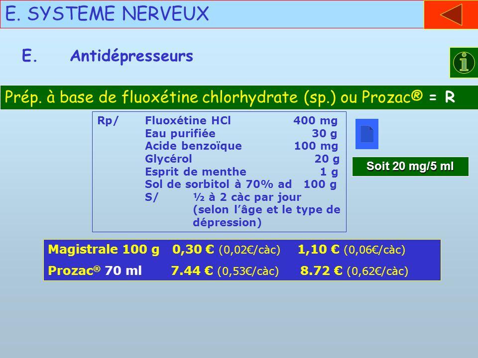 E. SYSTEME NERVEUX E.Antidépresseurs Prép. à base de fluoxétine chlorhydrate (sp.) ou Prozac® = R Rp/Fluoxétine HCl 400 mg Eau purifiée 30 g Acide ben