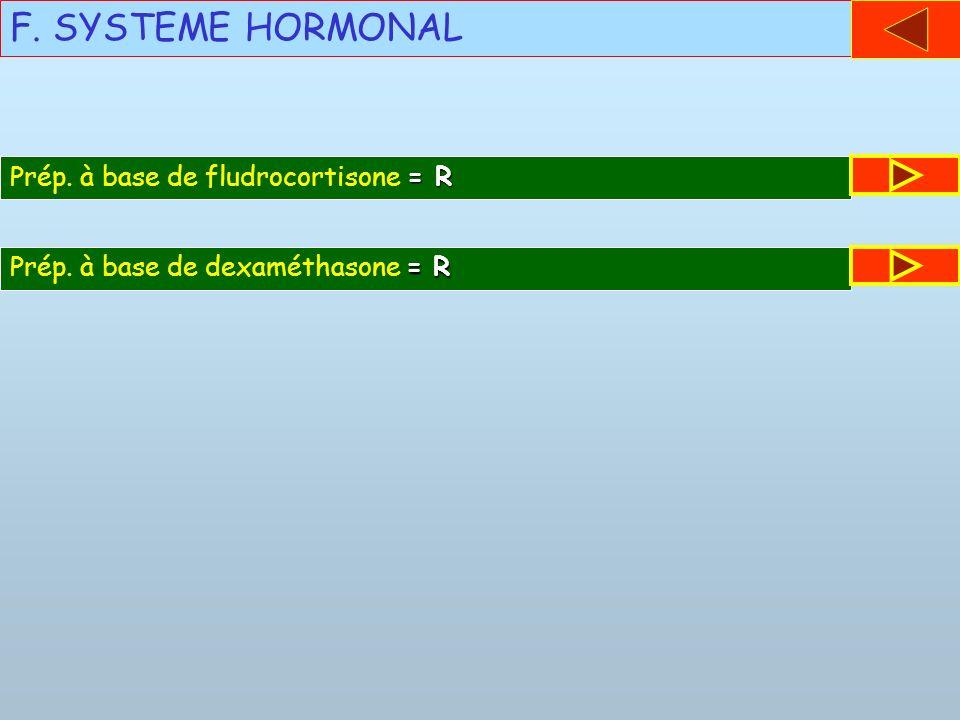 F. SYSTEME HORMONAL = R Prép. à base de fludrocortisone = R = R Prép. à base de dexaméthasone = R
