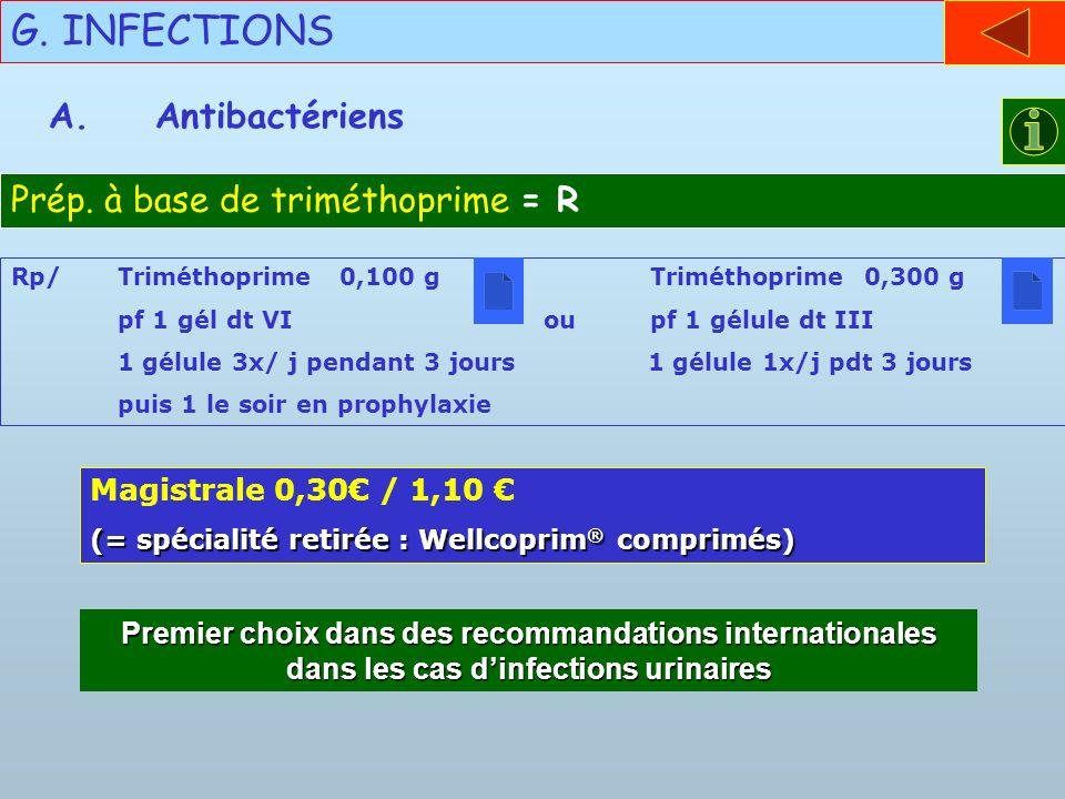 G. INFECTIONS A.Antibactériens Prép. à base de triméthoprime = R Rp/Triméthoprime 0,100 gTriméthoprime 0,300 g pf 1 gél dt VIou pf 1 gélule dt III 1 g
