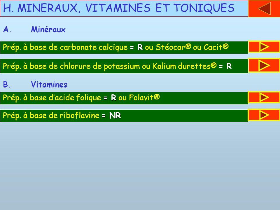 H. MINERAUX, VITAMINES ET TONIQUES = R Prép. à base de carbonate calcique = R ou Stéocar® ou Cacit® A.Minéraux Prép. à base de chlorure de potassium o