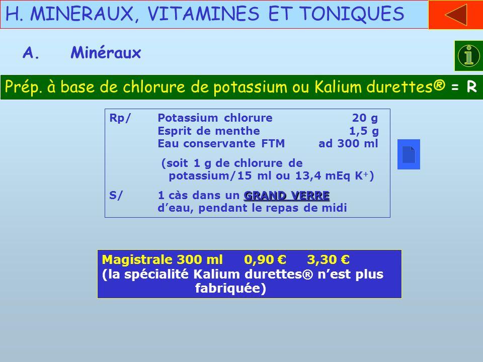 H. MINERAUX, VITAMINES ET TONIQUES A.Minéraux Prép. à base de chlorure de potassium ou Kalium durettes® = R Rp/Potassium chlorure 20 g Esprit de menth