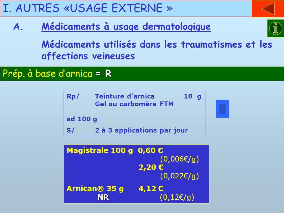 I. AUTRES «USAGE EXTERNE » Médicaments utilisés dans les traumatismes et les affections veineuses = R Prép. à base darnica = R Rp/Teinture darnica 10