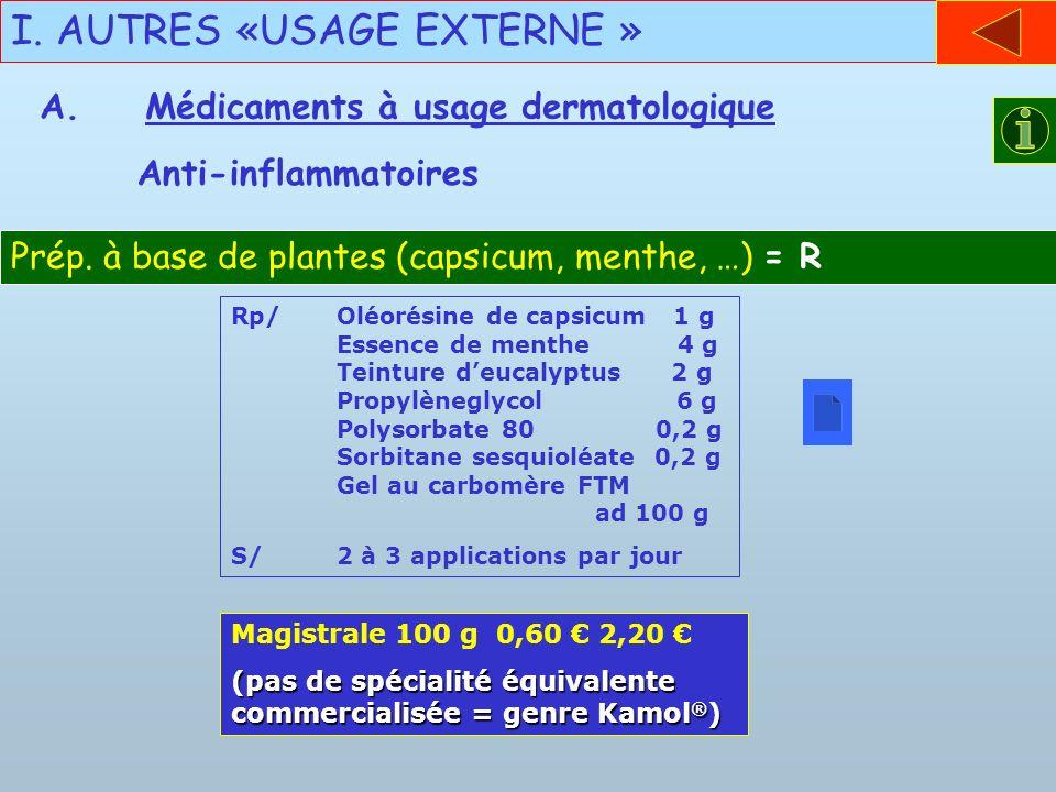 I. AUTRES «USAGE EXTERNE » Anti-inflammatoires Prép. à base de plantes (capsicum, menthe, …) = R Rp/Oléorésine de capsicum 1 g Essence de menthe 4 g T