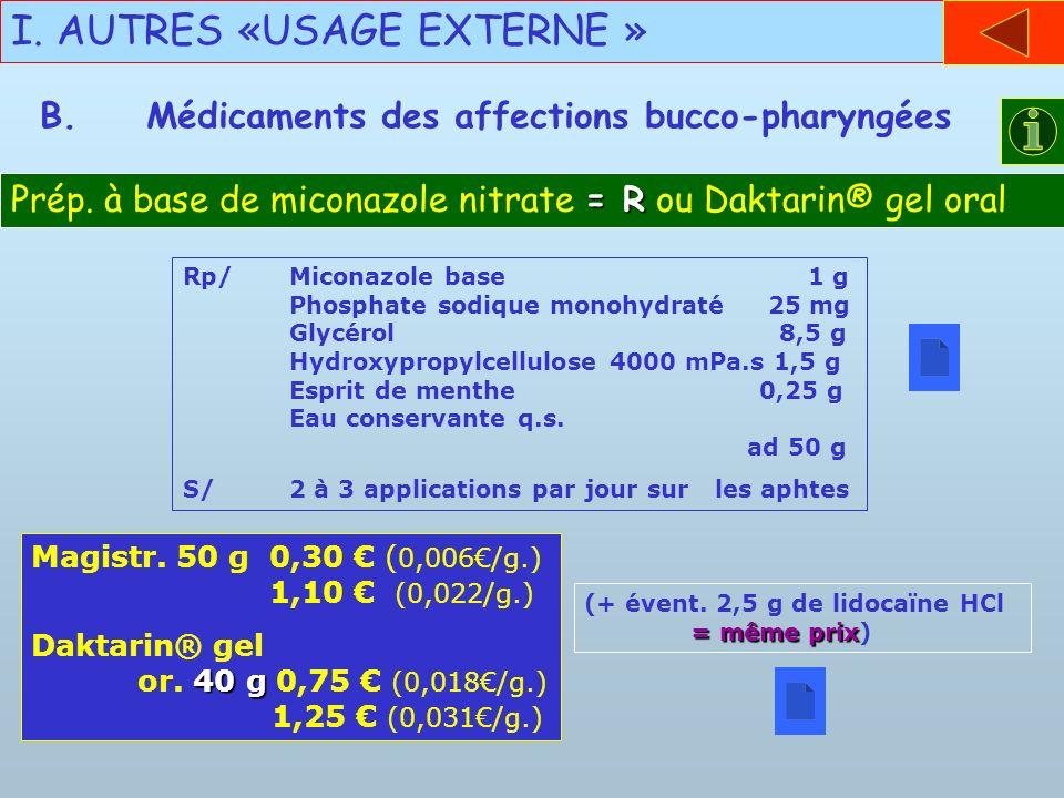 I. AUTRES «USAGE EXTERNE » B.Médicaments des affections bucco-pharyngées = R Prép. à base de miconazole nitrate = R ou Daktarin® gel oral Rp/Miconazol