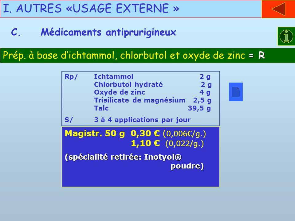 I. AUTRES «USAGE EXTERNE » C.Médicaments antiprurigineux = R Prép. à base dichtammol, chlorbutol et oxyde de zinc = R Rp/Ichtammol 2 g Chlorbutol hydr