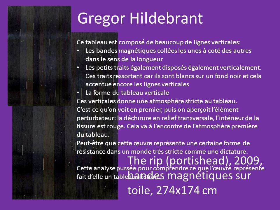 Gregor Hildebrant The rip (portishead), 2009, bandes magnétiques sur toile, 274x174 cm Ce tableau est composé de beaucoup de lignes verticales: Les ba