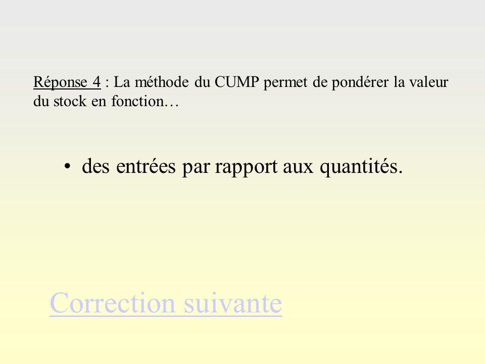 Ré po ns e 3 Correction suivante Réponse 3 : Le coût unitaire moyen pondéré se calcule comme suit : valeur stock initial + entrées quantité stock init