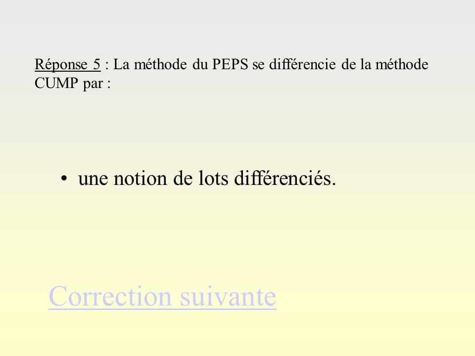 Réponse 4Réponse 4 Correction suivante Réponse 4 : La méthode du CUMP permet de pondérer la valeur du stock en fonction… des entrées par rapport aux q
