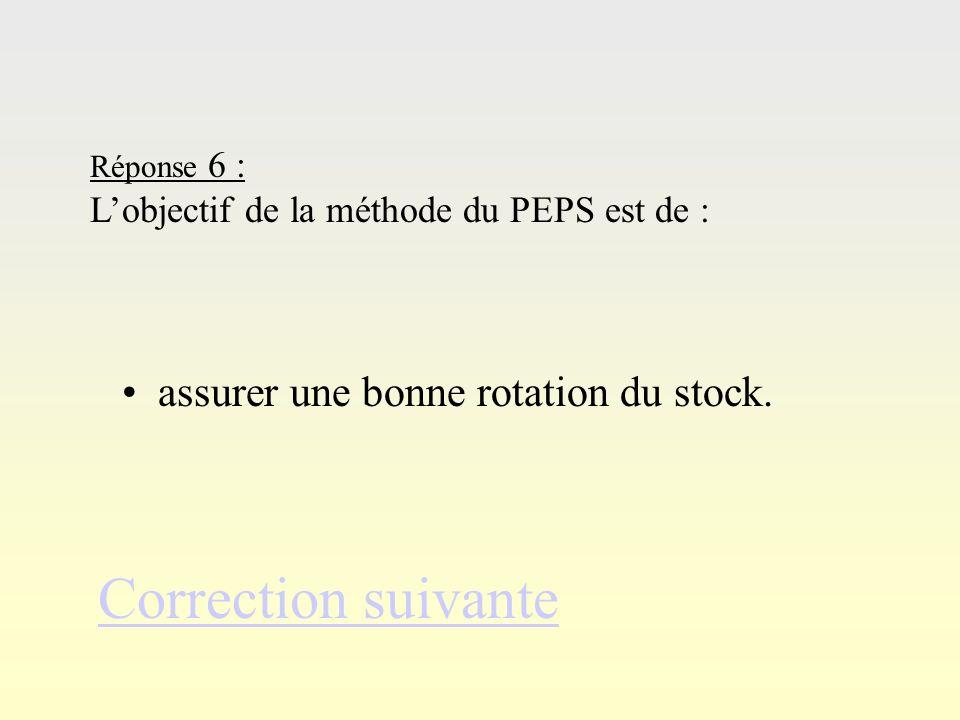 Ré po ns e 5 Correction suivante Réponse 5 : La méthode du PEPS se différencie de la méthode CUMP par : une notion de lots différenciés.