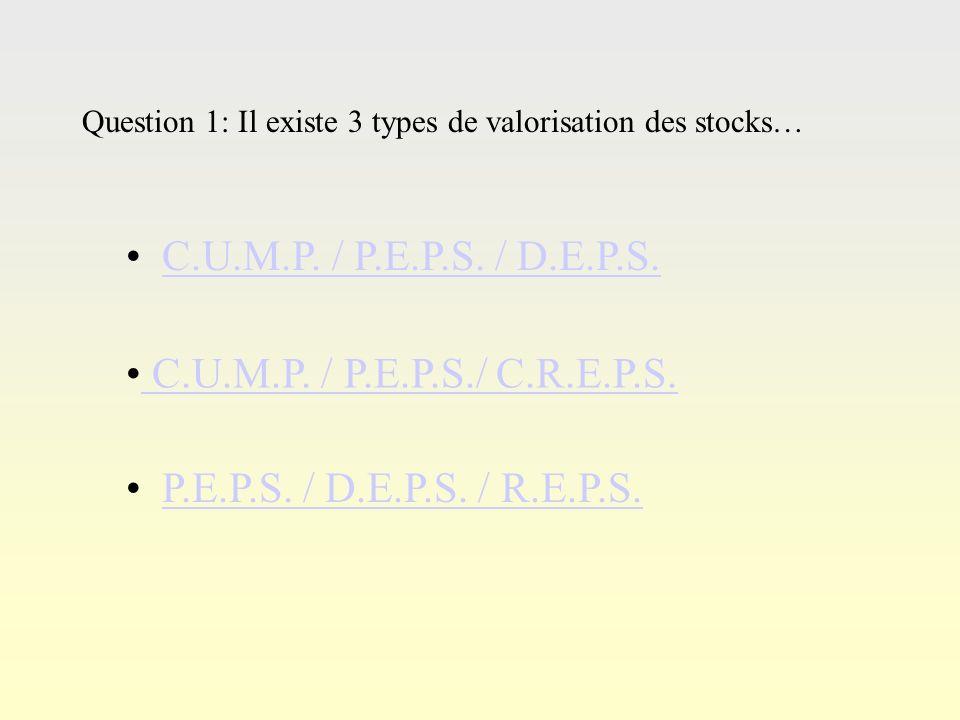 Q0 LA VALORISATION DES STOCKS Commencer le QCM