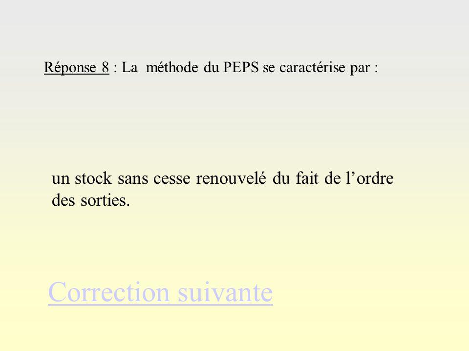 Réponse 7Réponse 7 Correction suivante Réponse 7 : La méthode DEPS se différencie de la méthode du PEPS par : un ordre inverse des sorties.