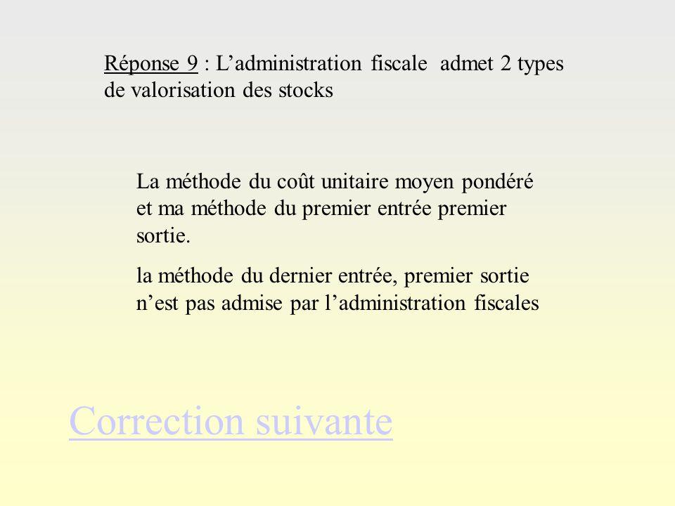 Réponse 8Réponse 8 Correction suivante Réponse 8 : La méthode du PEPS se caractérise par : un stock sans cesse renouvelé du fait de lordre des sorties