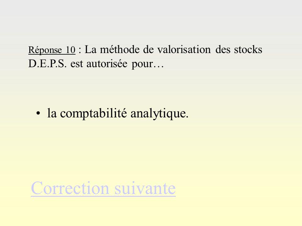 Réponse 9Réponse 9 Réponse 9 : Ladministration fiscale admet 2 types de valorisation des stocks La méthode du coût unitaire moyen pondéré et ma méthod