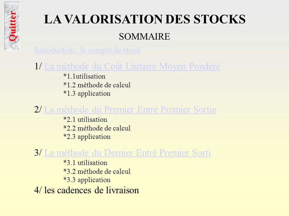 LA VALORISATION DES STOCKS intro