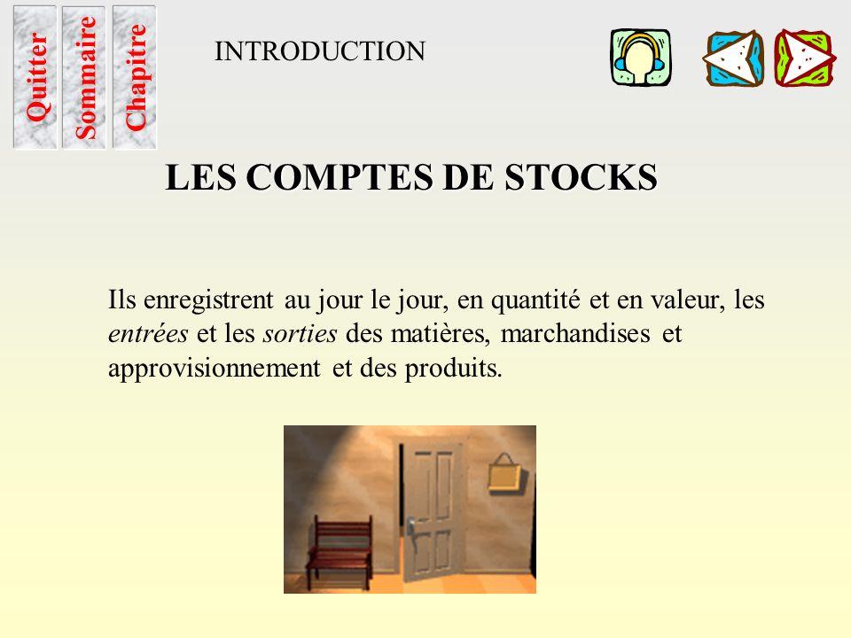 Les Cptes de stocks Sommaire LES COMPTES DE STOCKS Stock de ….. INTRODUCTION Quitter