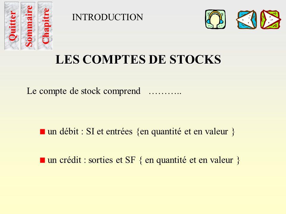 Les Cptes de stocks Sommaire Chapitre LES COMPTES DE STOCKS Ils enregistrent au jour le jour, en quantité et en valeur, les entrées et les sorties des