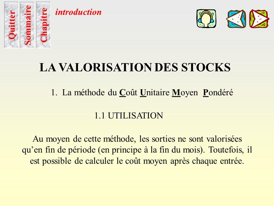 Sommaire LA VALORISATION DES STOCKS 1. La méthode du Coût Unitaire Moyen Pondéré 1.1 UTILISATION Cette méthode est proposée par le plan comptable; le