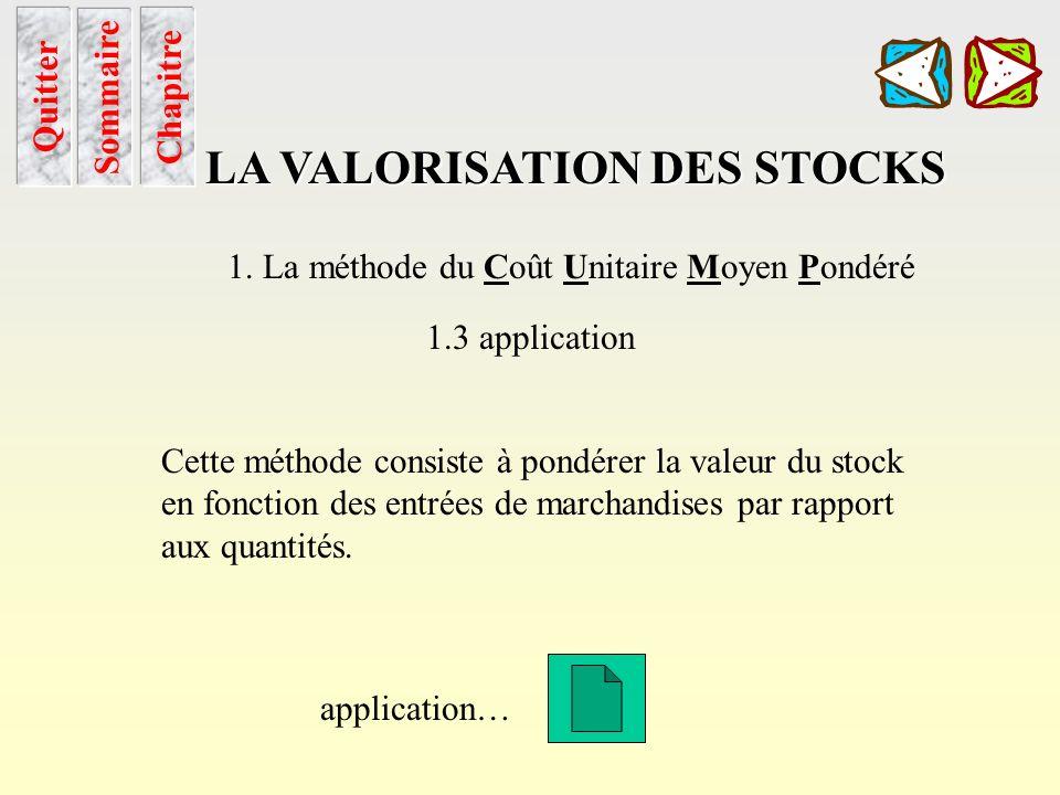 méthode et étapes de calcul Chapitre Sommaire LA VALORISATION DES STOCKS 1. La méthode du Coût Unitaire Moyen Pondéré 1.2 Méthode de calcul A laide du