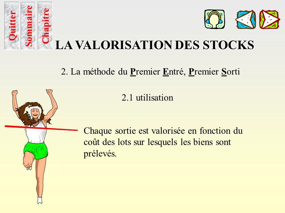 Peps utilisation Sommaire LA VALORISATION DES STOCKS 2. La méthode du Premier Entré, Premier Sorti 2.1 utilisation Le stock initial et les diverses en
