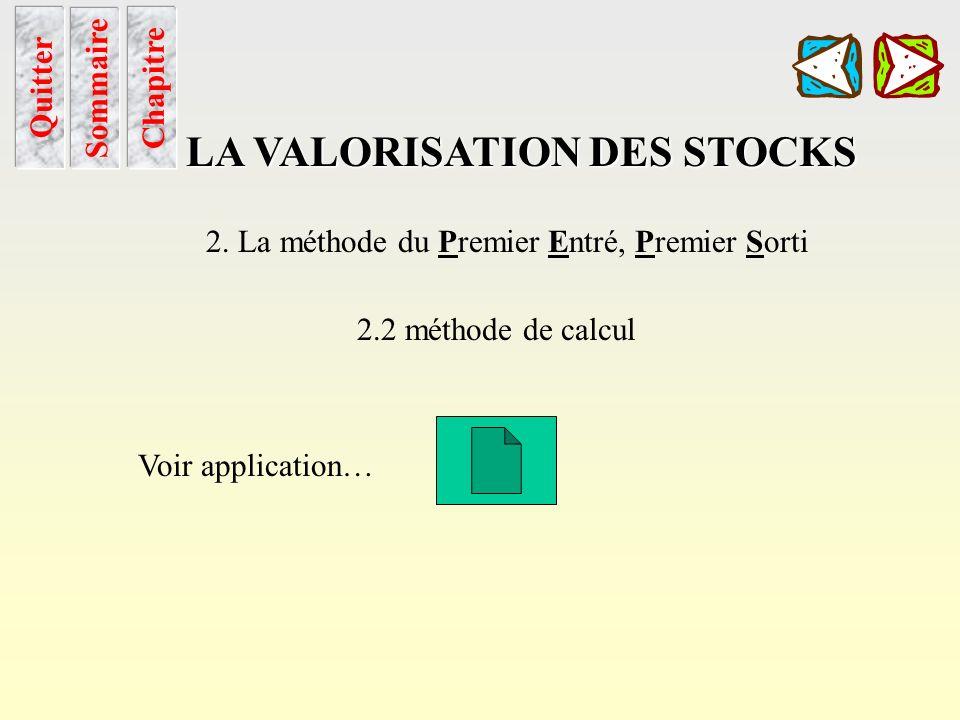 Peps utilisation Sommaire Chapitre LA VALORISATION DES STOCKS 2. La méthode du Premier Entré, Premier Sorti 2.1 utilisation Chaque sortie est valorisé