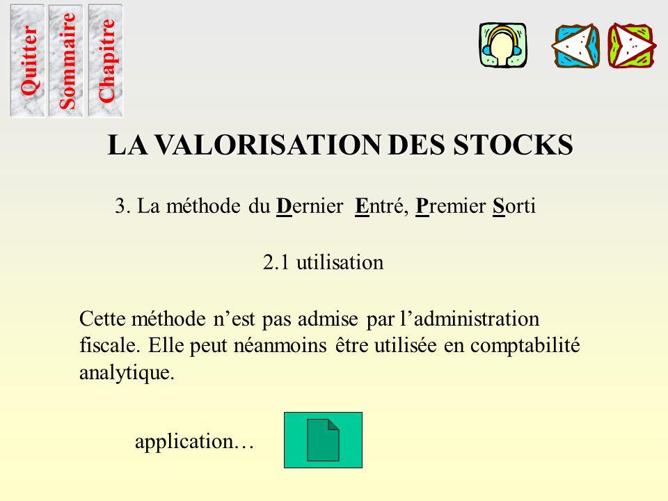 Deps utilisation Sommaire LA VALORISATION DES STOCKS 3. La méthode du Dernier Entré, Premier Sorti 2.1 utilisation Comme pour la méthode du Premier En